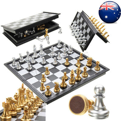 Foldable Magnetic Silver Gold Chess Box Set Educational Board Contemporary