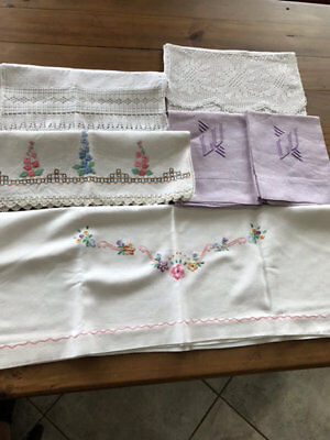 Vintage Hand Guest Towels.lot Of 6.some Embroidered.