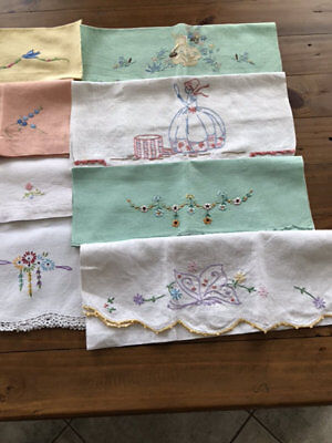 Vintage Embroidered Hand Guest Towels.lot Of 8.