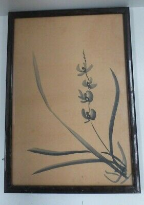 Early Japanese Hand Painted Water Colour Orchid Ikebana Flower