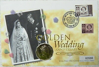 1997 50 cent Golden Wedding Anniversary PNC Coin Stamp Cover by Mercury