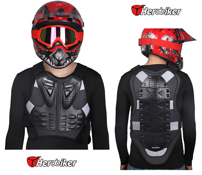 Men's Motorcycle Body Armor Vest Jacket Back Spine Protection Riding Gear