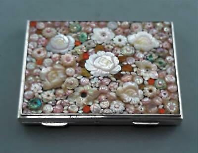 Vintage Sterling Silver 950 K.Uyeda Ornate Pearl Shell Red Coral Top Card Case
