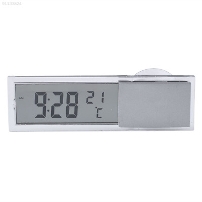 ED88 2 in 1 Digital LCD Clock Thermometer Suction Cup Car Interior Accessories^