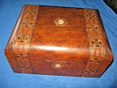 Antique / Vintage Wooden Box Marquetry Inlay - Ideal Restoration Project Chic