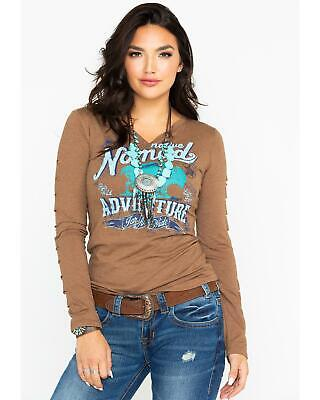0614c21d6ca45 PANHANDLE WOMEN S BROWN Embroidered 3 4 Sleeve Top L9T5860 -  43.95 ...