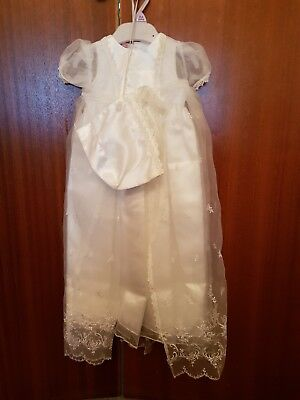 Christening Gown Long Baby Girls Satin,Silk&Lace  0-6 Months White & Bonnet