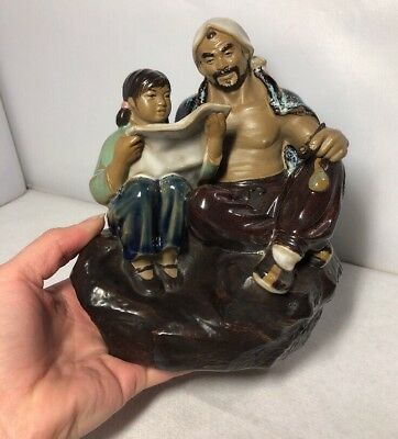 Vintage Chinese Shiwan Pottery Man & Girl Reading Paper