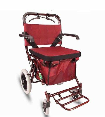 New Red 4 Wheels Convenient Foldable Shopping Luggage Trolleys With Seat *