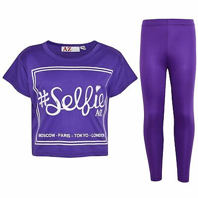 Kids Girls #Selfie Print Stylish Purple Crop Top & Fashion Legging Sets 5-13 Yrs