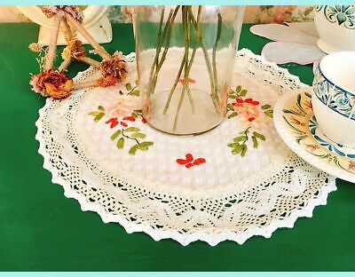Beautiful Hand Silk Ribbon 3D Flower Embroidery Crochet Lace Round Table Topper