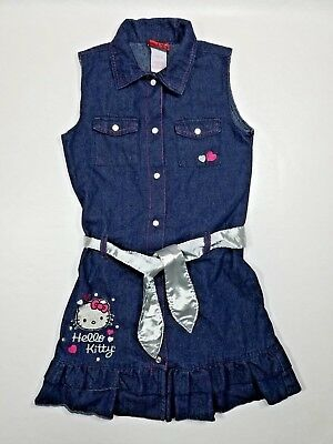 Hello Kitty Girls Dress Size 12 Blue Denim Cotton Snap Buttons