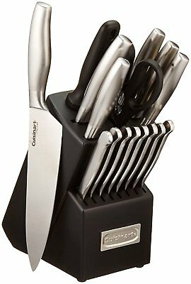 Steel Stainless Set Block Knife Piece Kitchen Cutlery Knives 17 Chef Cuisinart