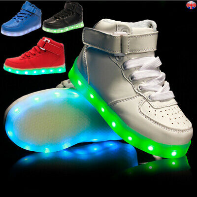Kids Boys Girls Light Up LED Trainers Sneakers Running Sports Shoes Rechargeable