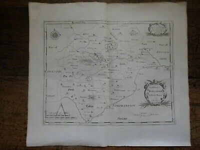 1695 Rutland county map 'COMITATUS ROTELANDIAE' by ROBERT MORDEN