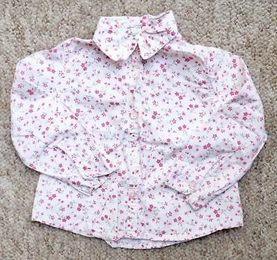United Colours Of Benetton Pink Floral Blouse 18 Months Shirt Top Baby Girls