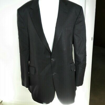 Large Black Pinstripe Suit Jacket-Soft Periwinkle Blue Lining-M/L