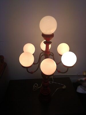 Lamps lamp lampshade vintage SPACE AGE glass wood copper 90 cm 7 lights