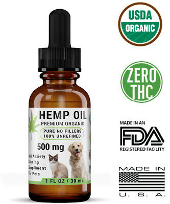 Organic Hemp Seed Oil for Dogs n Cats Pets Stress Anxiety Pain Relief 500mg 1oz