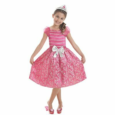 Licensed Girls Pink Barbie Doll Classic Princess Fancy Dress Party with Tiara