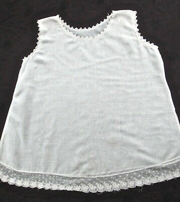 antique/vintage toddler girl's slip cotton batiste w lovely lace trim, 3-4?