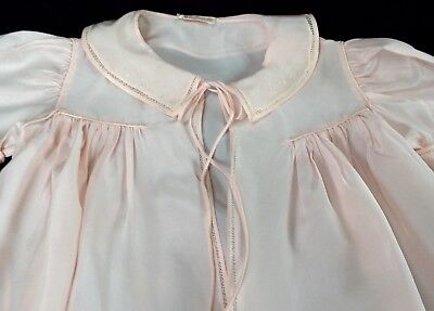 vintage Yolande Hand Made long baby coat pink+delicate embroidery, christening?