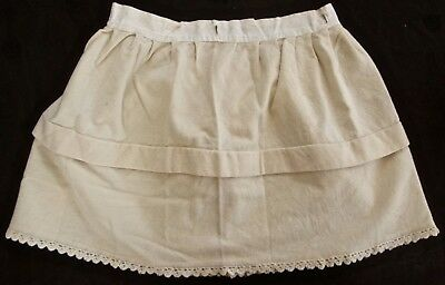 antique Edwardian girls winter wool petticoat w linen waistband, crocheted edge