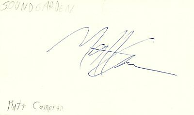 Matt Cameron Drummer Soundgarden Rock Band Music Signed Index Card JSA COA