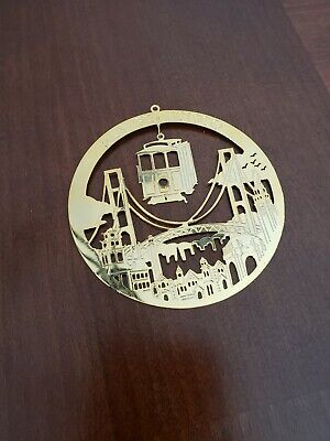 San Francisco Christmas Ornament Cable Car Golden Gate Salamander 1983 Box