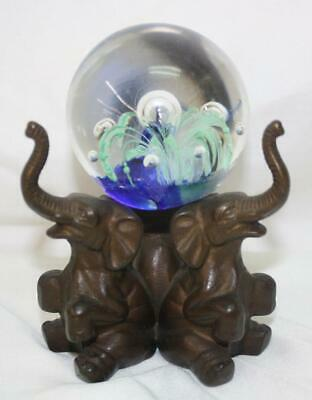 Brass Elephants W/hand Blown Glass Millefiori Paperweight ~Ss2