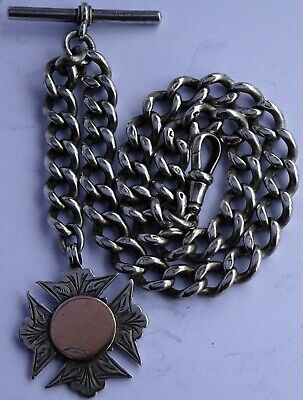 Stunning antique heavy solid sterling silver pocket watch albert chain & fob