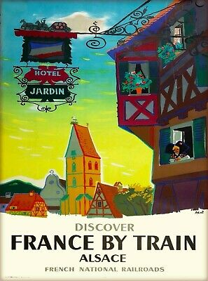 Discover France by Train Alsace Vintage Railways Travel Art Poster Print
