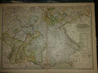 "1897 Antique Map GERMAN EMPIRE 11-1/2 x 16"" VG Cond Century Co Germany"