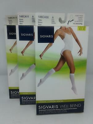 3-Sigvaris Womens Casual Cotton Socks 146CA11&146CA00 Size A 15-20mmHg Knee High