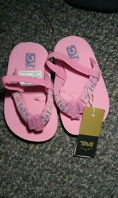 Teva Girls Mush II Flip Flop Sandal Pink Fish size 4-5 US Toddler Brand New