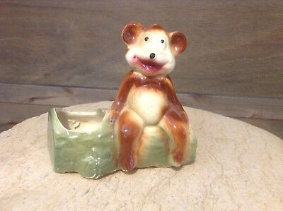 Vintage American Bisque Brown Happy Bear on A Green Log Planter Very Cute