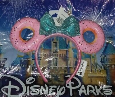 NEW Disney Parks Snacks Minnie Mouse Glitter Bow Sprinkle Donut Ears Headband
