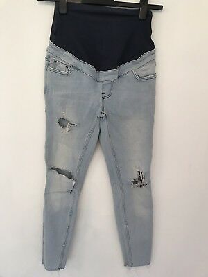 0d95f3b224027 New Look Maternity Jeans Blue Distressed Over Bump Rip Knees Women's 8