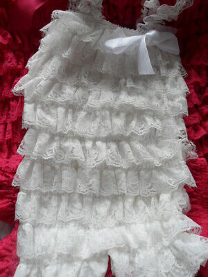 White Frilly Romper Small Medium Large Play Suit Summer Outfit With Lace Ruffles