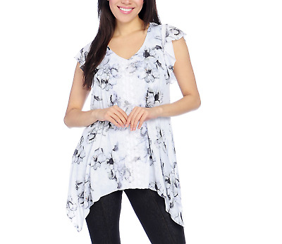 One World Double Printed Mesh Flutter Sleeve Sharkbite Top & Attached Knit Tank