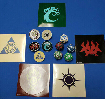 Ravnica Allegiance Guild Dice Set of five D20 spindowns & Guild pins & stickers