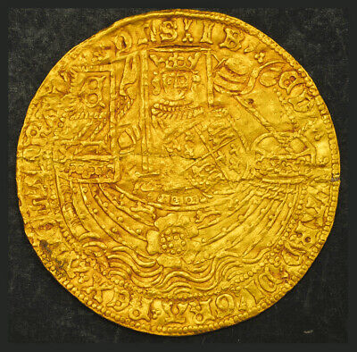 1461, Great Britain, Edward IV. Rare Gold Rose Noble (Ryal) Coin. Repaired XF!
