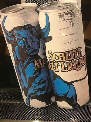 SCHLITZ MALT LIQUOR Beer BULL ~ RARE 2000 ~ CANS Tin Advertising Sign NOS