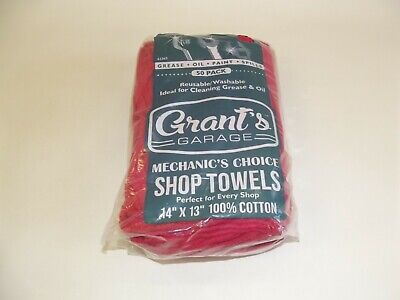 """50 Pack Grant's Garage Shop Towels 14""""x13"""" 100% Cotton Absorbent Rags Red"""