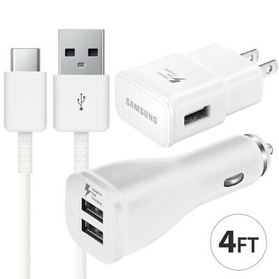 OEM Samsung Galaxy S9 S8 Note 8 9 Fast Charging Dual USB Car&Wall Charger +Cable