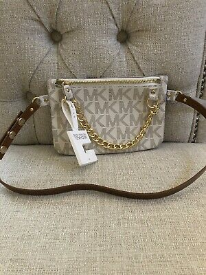 fff7549d1326c1 Michael Kors Belt Bag Signature Logo Fanny Pack Vanilla Medium NEW W/  Defects