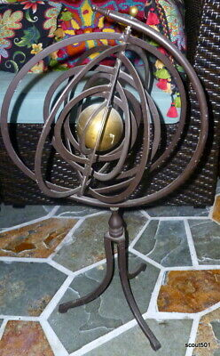 "Large Folding 25"" Tall Antique Victorian Bronze & Brass Armillary Sphere"