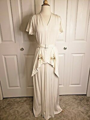 True Vtg 40s Ivory Rayon Party Lines Emma Domb Dress Wedding Art Deco M VLV
