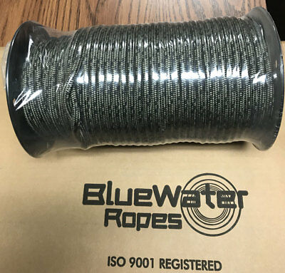 BlueWater Ropes 7mm X 60m Dynamic Prusik Cord, Black w/Olive Tracer