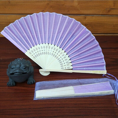 Chinese Style Hand Held Fan Bamboo Silk Folding Fan Party Wedding Decor Purple